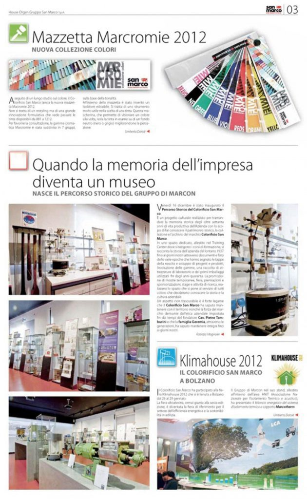 Percorso storico d 39 impresa for Colorificio san marco