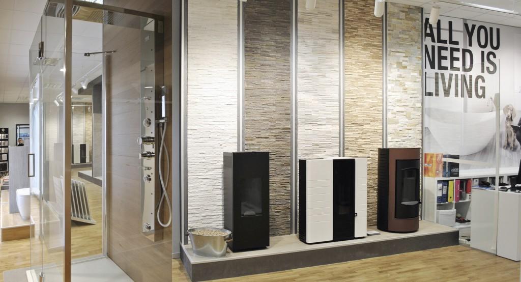Progettazione interni allestimento showroom arredobagno milano