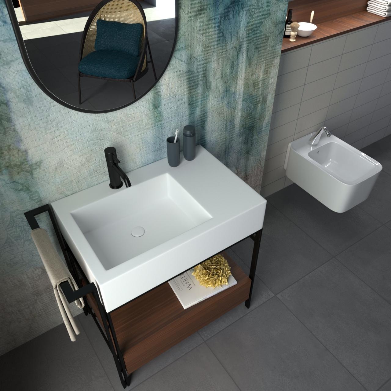un progetto di rendering 3d di arredo per il bagno