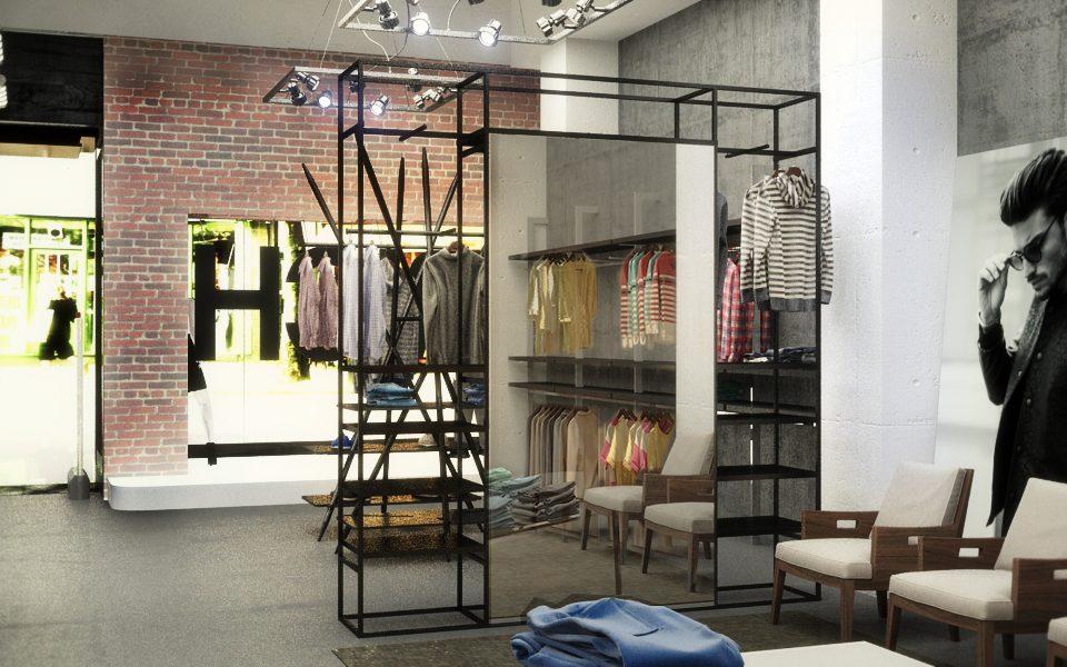 progettazione negozio dallo stile industriale