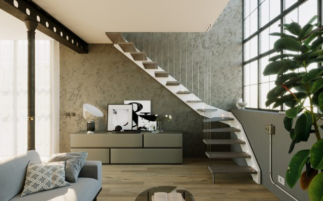 3d rendering di scale per interno