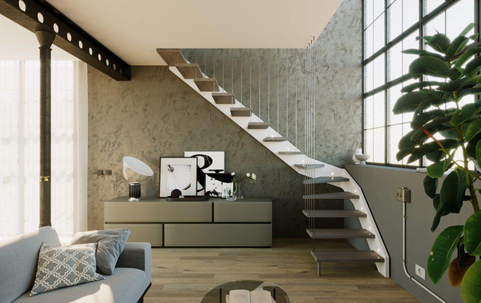 3d rendering di scale per interno
