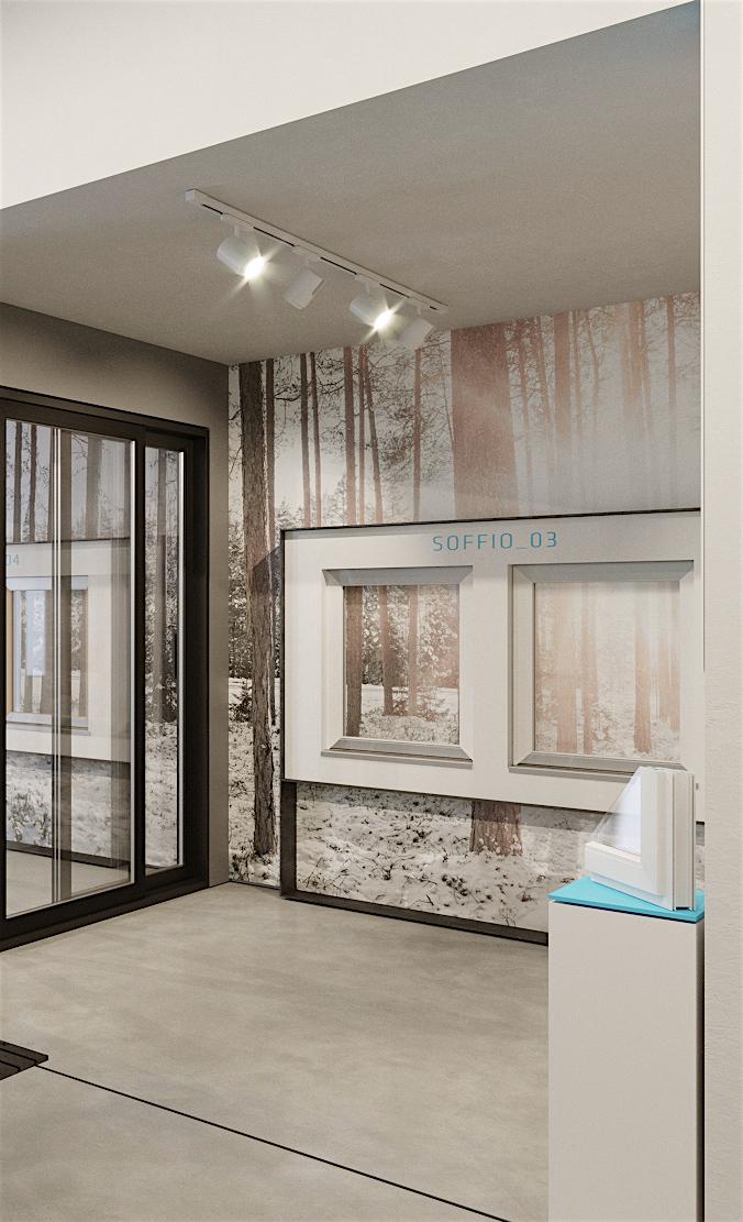 esposizione finestre in uno showroom moderno