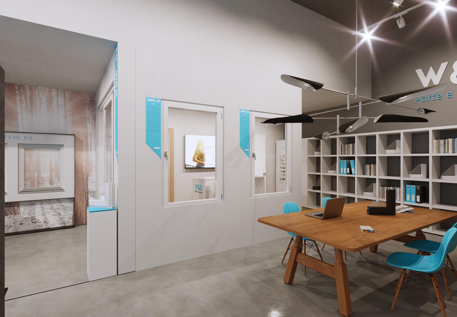 Showroom porte e finestre: visual merchandising, grafica e comunicazione per guidare il cliente nella scelta.