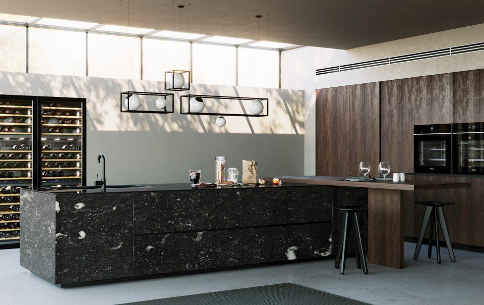 rendering di una cucina in pietra naturale lucida