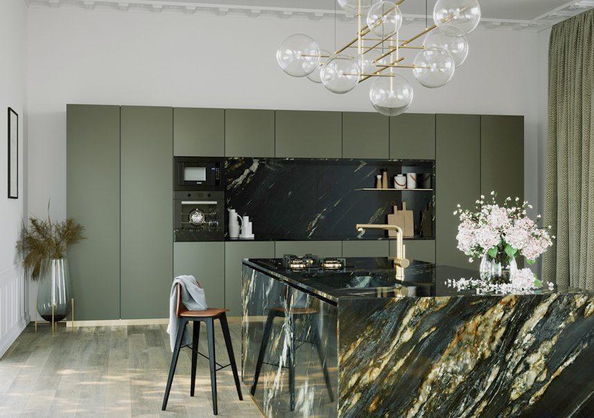 render di una cucina con isola in marmo
